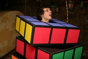 Man dressed in full body Rubik's Cube costume