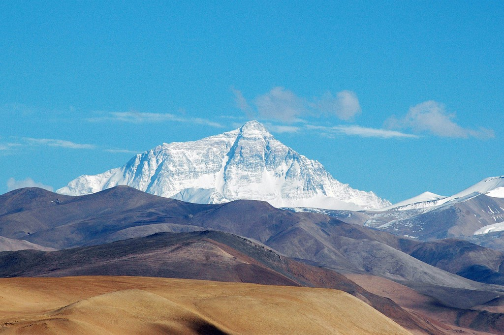Mount Everest as seen from the Tibetan plateau