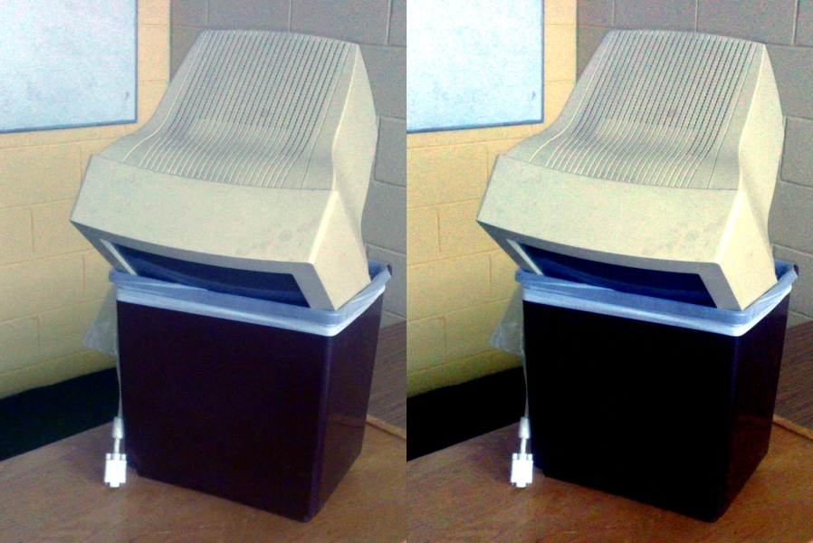 Two images of a computer in a bin, with different colours