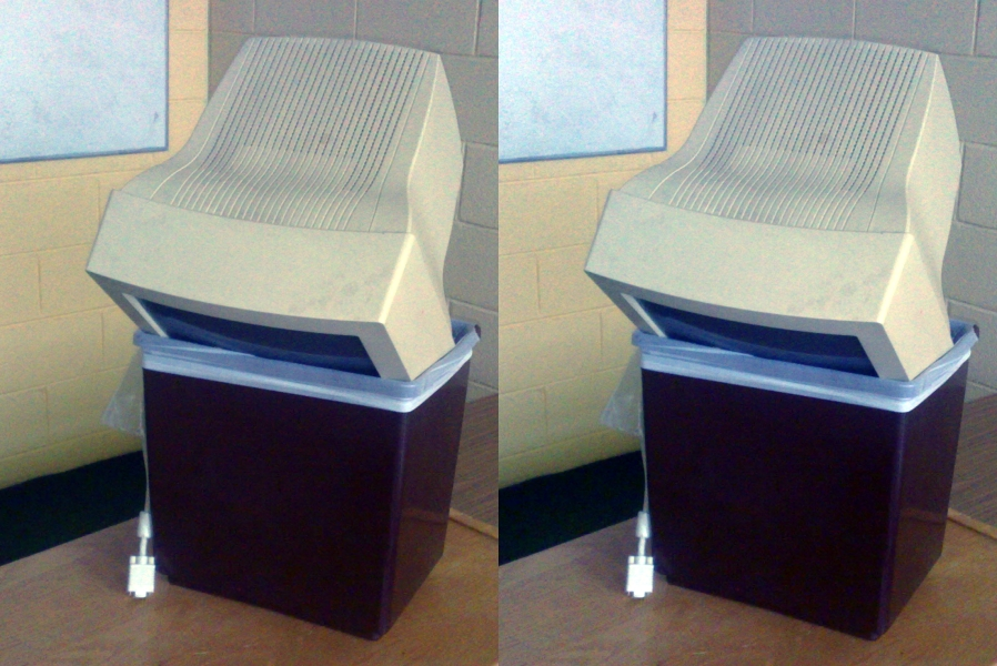 Two images of a computer in a bin, with slightly different colours