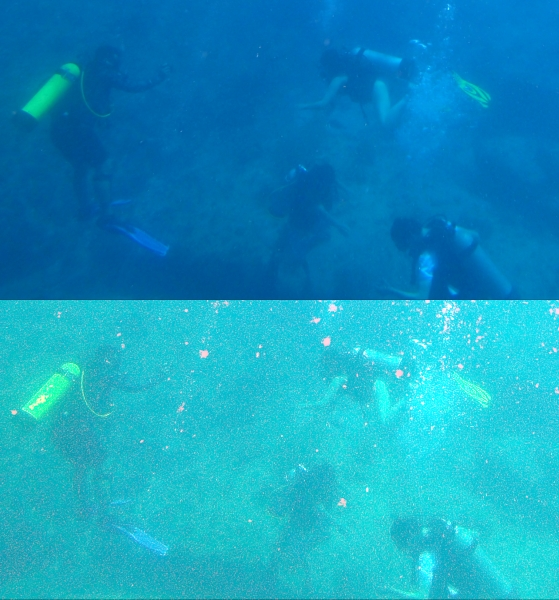 SCUBA divers groups at bottom of ocean; two images in slightly different colours
