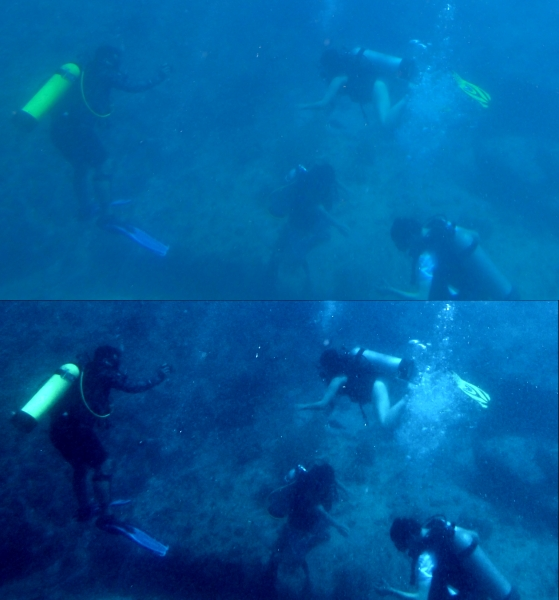 Two images of SCUBA divers groups at bottom of ocean with slightly different colours