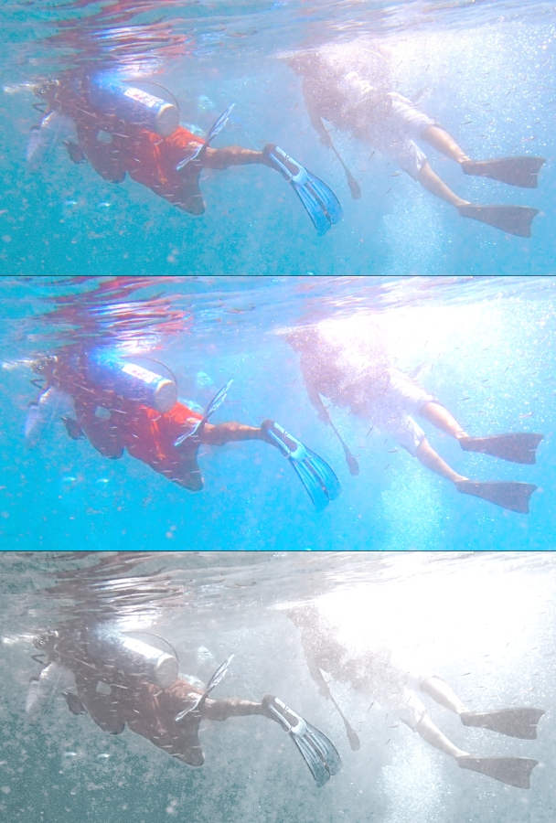 Three images of two divers snorkelling, with different colours