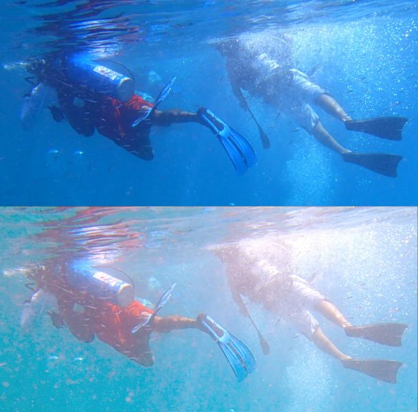 Two images of two divers snorkelling, with slightly different colours