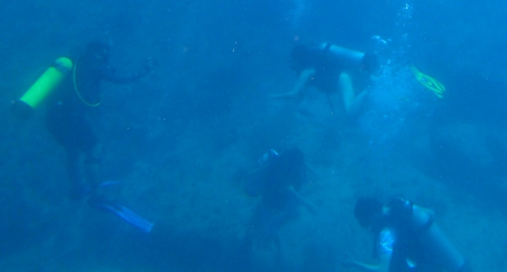 SCUBA divers groups at bottom of ocean